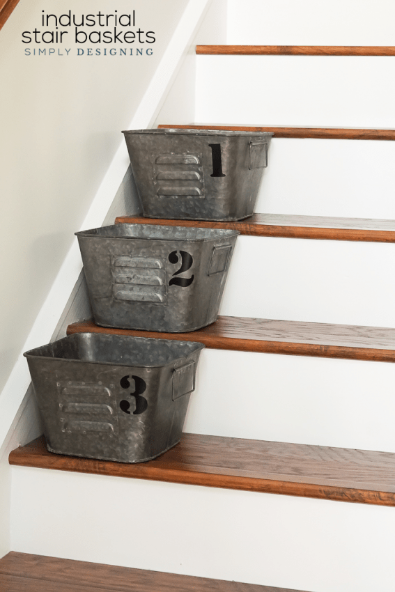 Awesome Industrial Stair Baskets   A Simple And Beautiful Way To Create  Organization And Order In Your