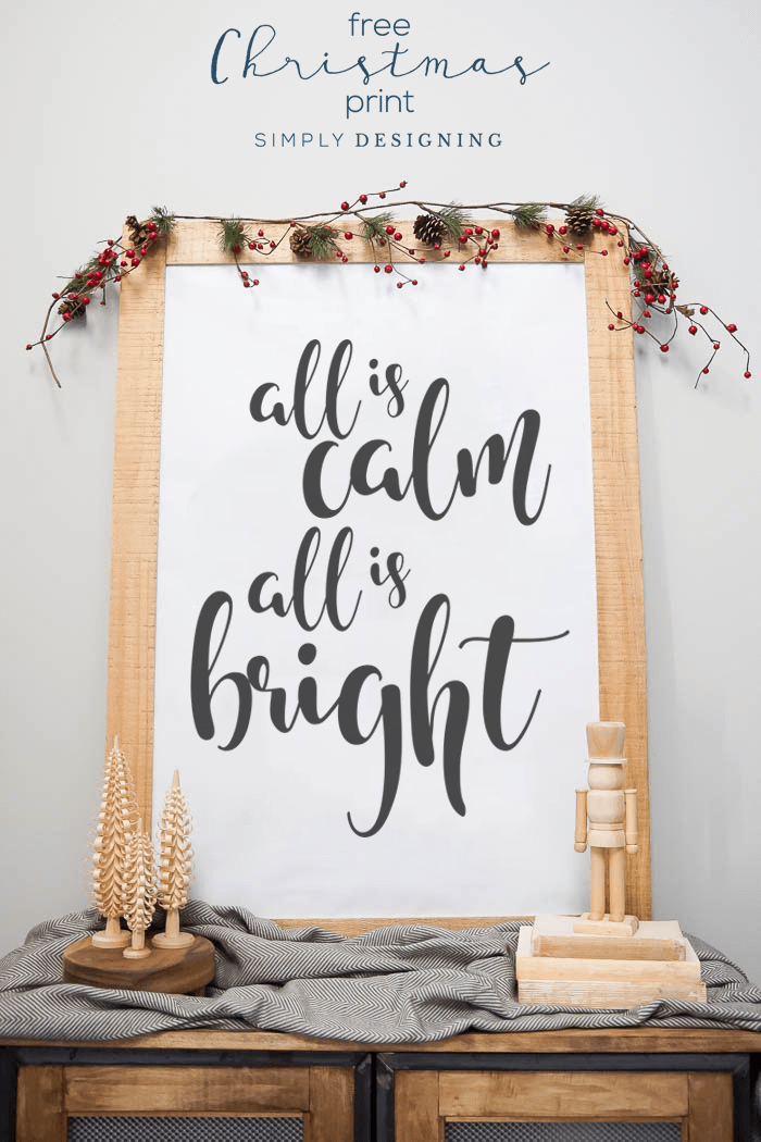 All is Calm All is Bright - Free Christmas Print - Free Christmas Printable
