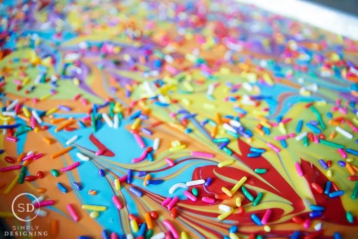rainbow sprinkles on rainbow chocolate