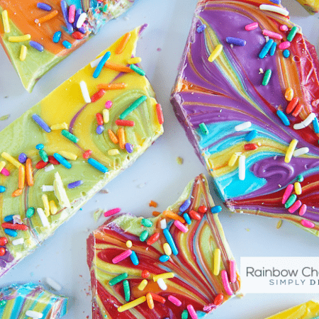 Rainbow Chocolate Bark - a delicious and beautiful chocolate treat