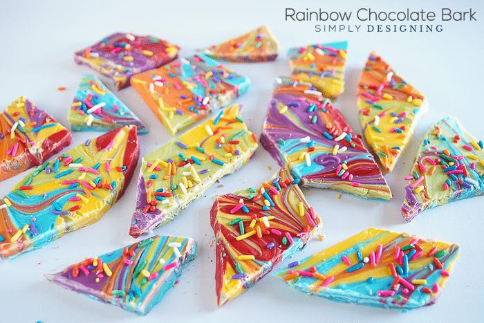 Rainbow Chocolate Bark - a fun rainbow treat