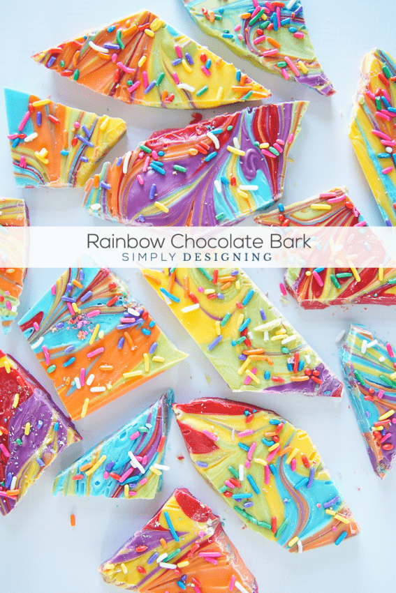 Rainbow Chocolate Bark - this beautiful rainbow treat is so easy to make and perfect for st patricks day