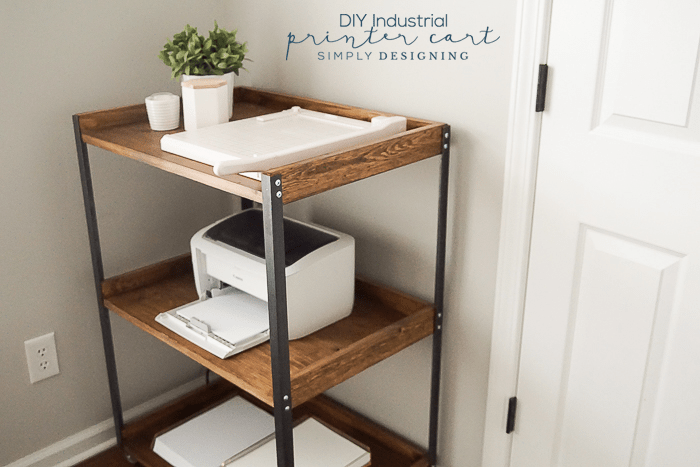 Diy printer table with an industrial style to give your office more industrial diy printer table from the side showing two of the three shelves solutioingenieria Images