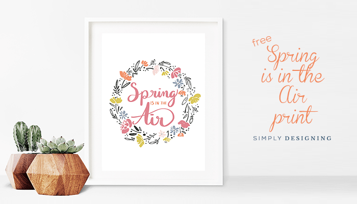 Free Hand Lettered Spring Print with Floral Wreath