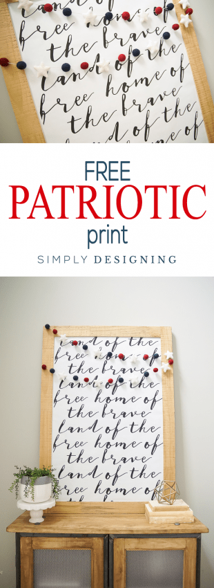 Free Patriotic Print made with Beautiful Typography - a perfect print for Memorial Day or the Fourth of July