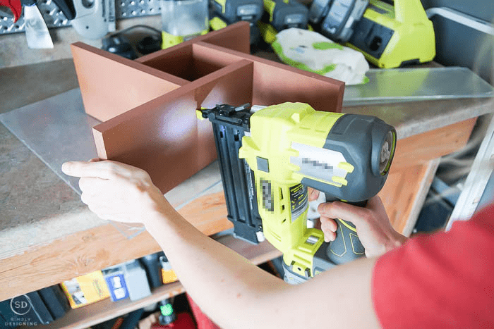 nail gun end table together