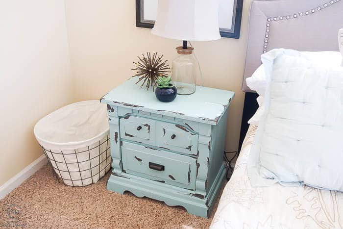 Master Bedroom : Before : with chippy paint nightstands : and plans to totally transform this bedroom into a sanctuary