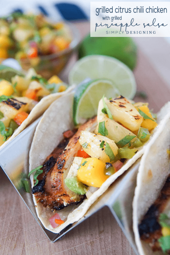 Citrus Chili Chicken with Grilled Pineapple Salsa Recipe