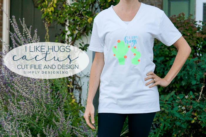 I Like Hugs Cactus Cut File with tshirt design idea