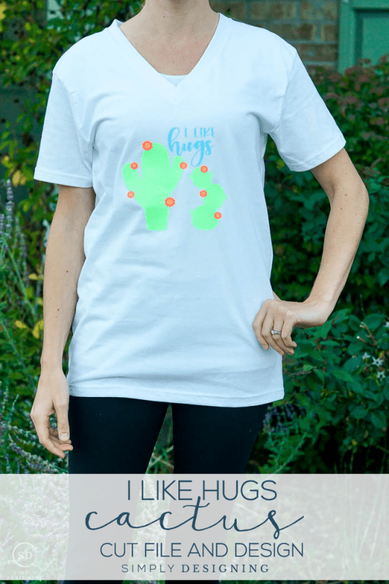 I like hugs Cactus Shirt Design and Cut File - a cute cactus cut file that you can download and cut with your Silhouette