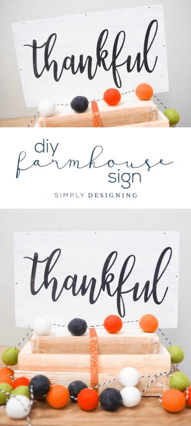 DIY Farmhouse Thankful Sign - farmhouse sign - diy sign - farmhouse style sign - diy farmhouse