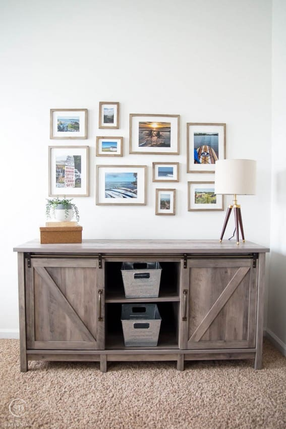 Farmhouse Style Office Update with farmhouse furniture and a gallery wall