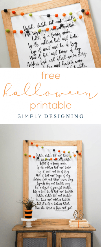 Free Halloween Printable - Double Double Toil and Trouble Halloween Print - beautiful large print for Halloween - free print - free printable