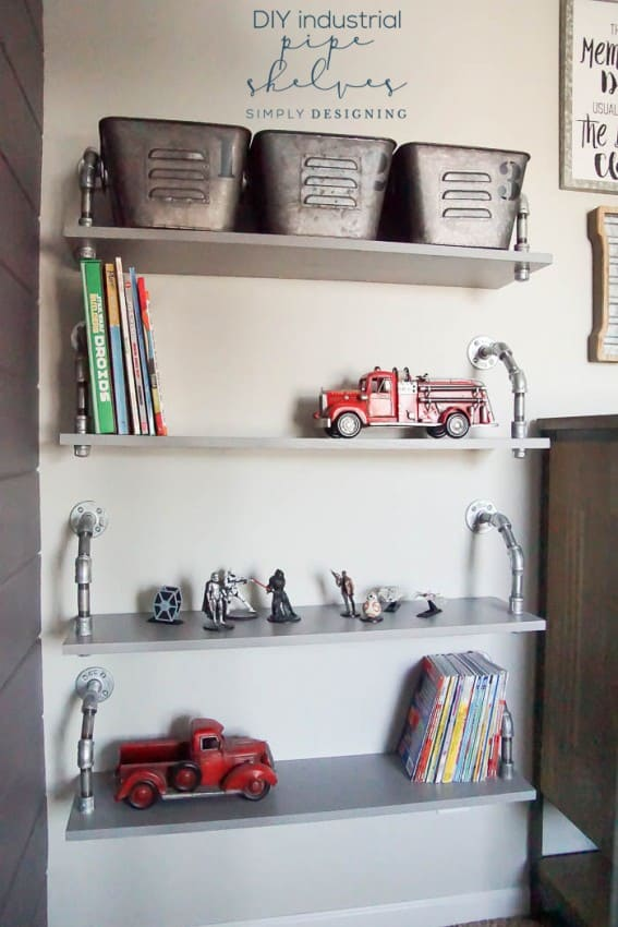 DIY Industrial Pipe Shelves