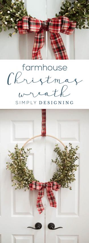 farmhouse christmas wreath christmas hoop wreath holiday wreath made with wood hoop diy - A Farmhouse Christmas