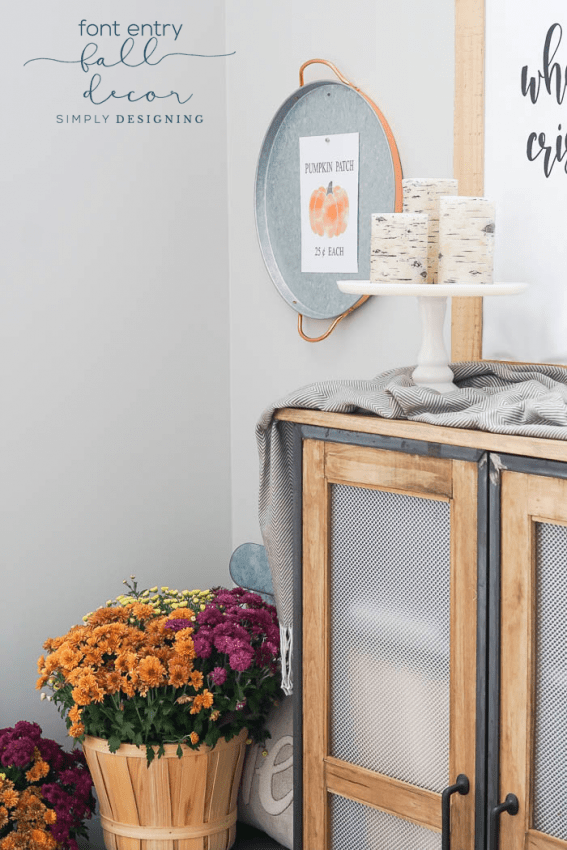 Front Entry Fall Decor - free print - mums - birch candles