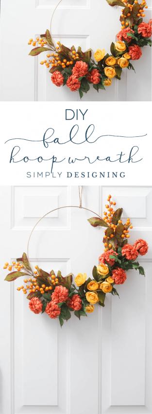 How to make a Fall Hoop Wreath - fall wreath - hoop wreath - diy wreath - diy fall wreath
