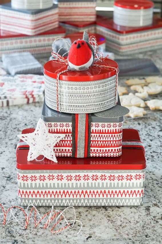 Package shortbread cookies in tins with ribbon for an easy holiday gift idea