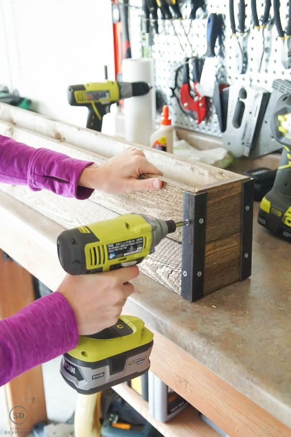How to make Farmhouse Stocking Holders - screw second board in place