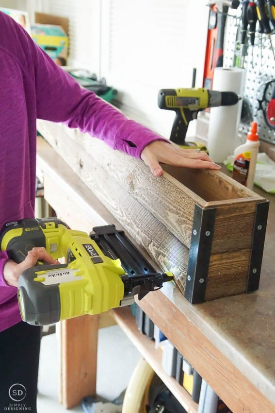 How to make Farmhouse Stocking Holders - nail gun box together