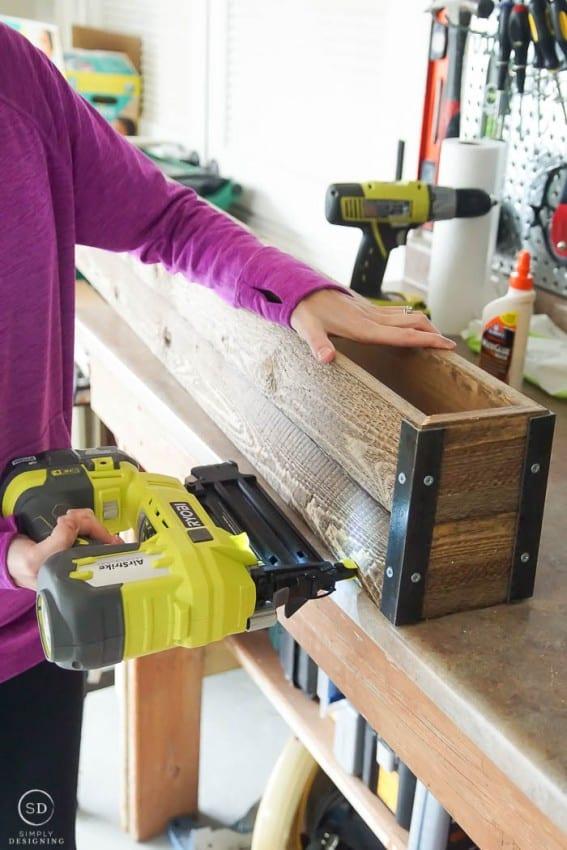 How to make Farmhouse Stocking Holders - nail gun box together
