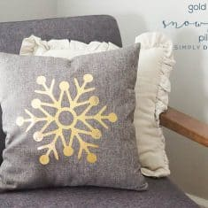 Gold Foiled Snowflake Pillow