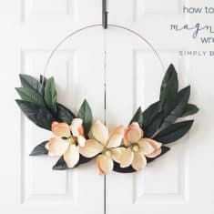 How to Make a Farmhouse Magnolia Hoop Wreath