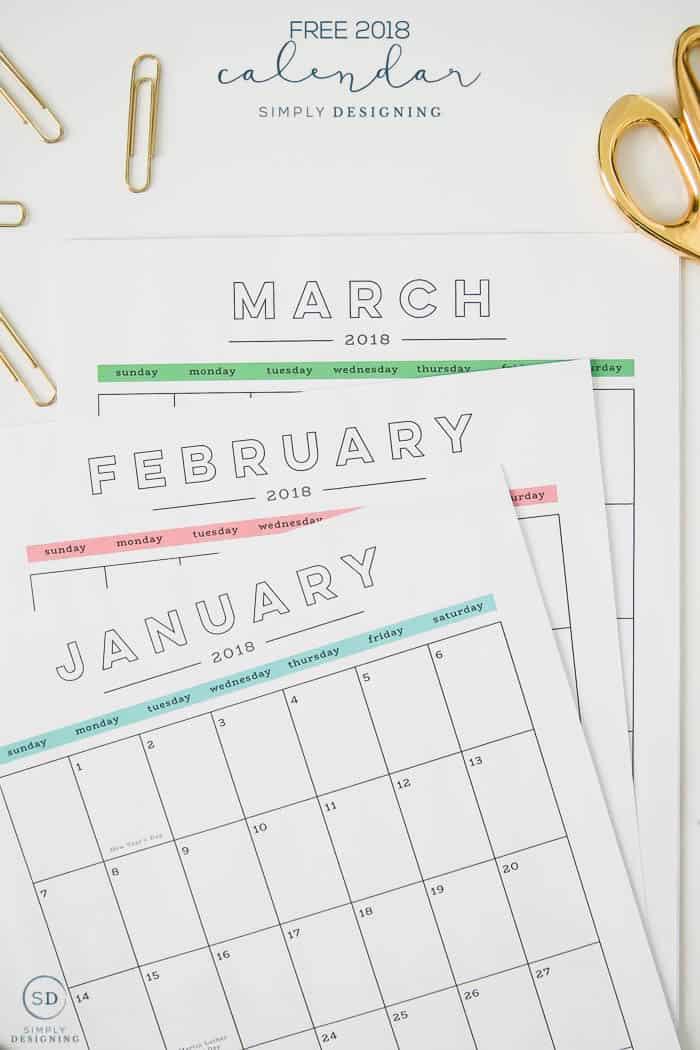Free 2018 Calendar - monthly printable calendar