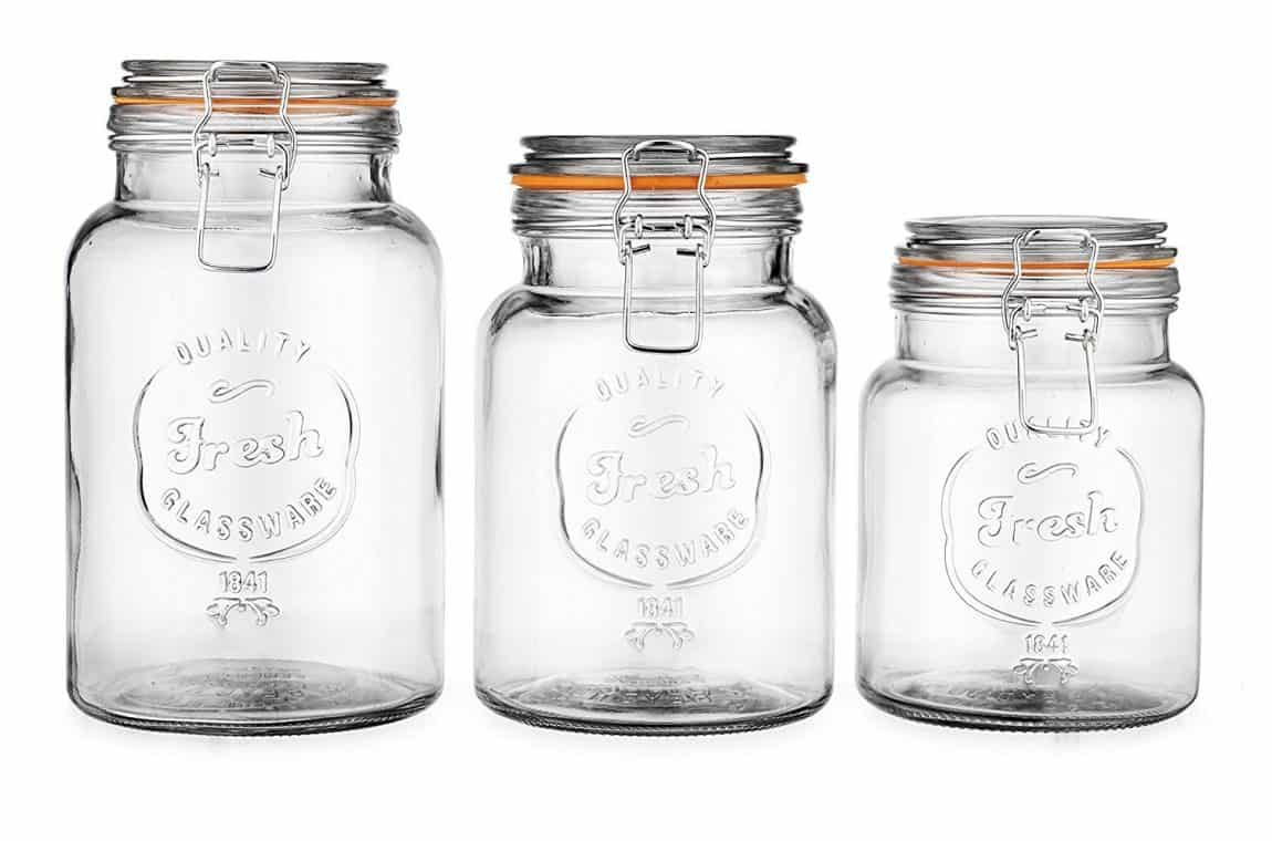 Set of 3 Hermetic Glass Jars
