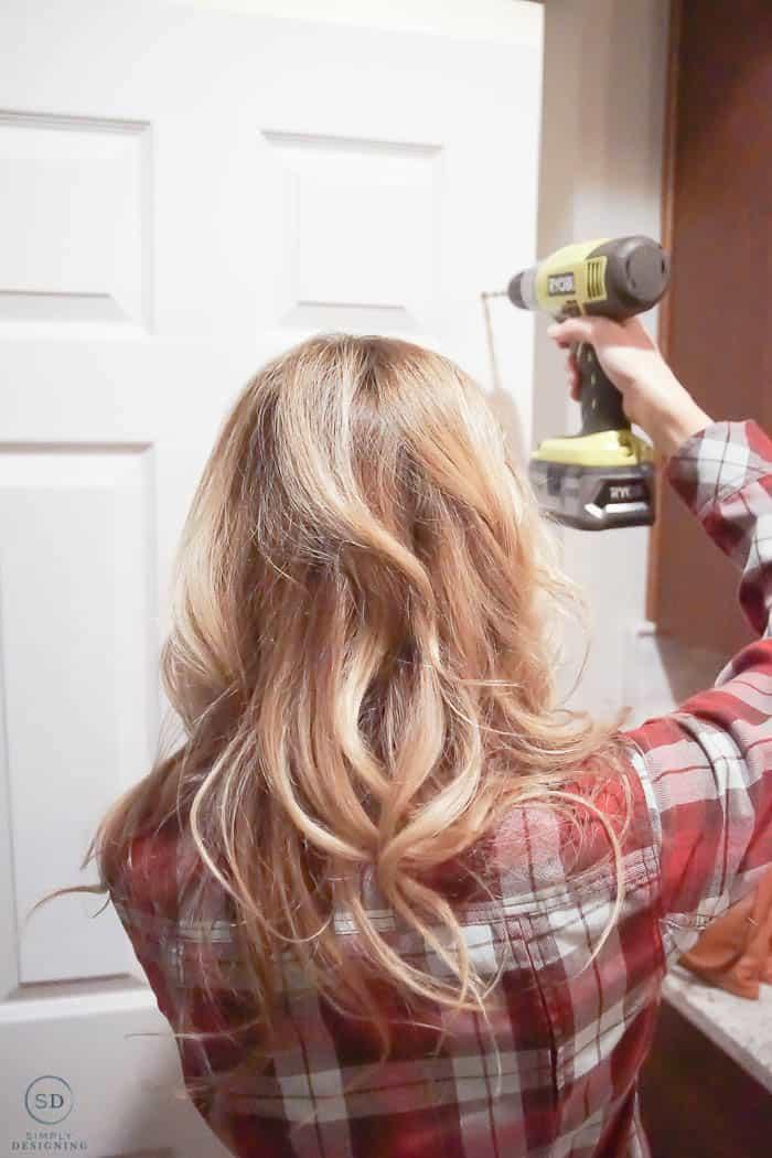 Drill holes in pantry door