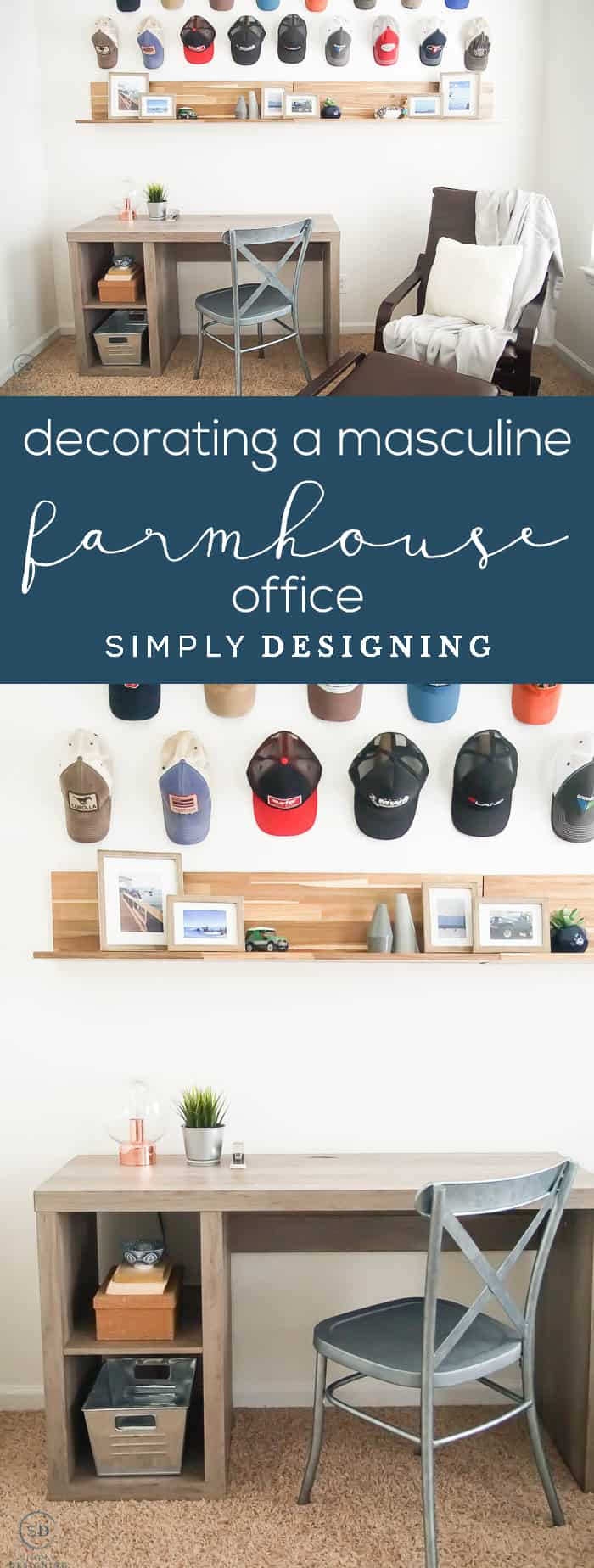 Decorating a masculine Farmhouse Office - mans office - farmhouse design - industrial farmhouse decor - man cave