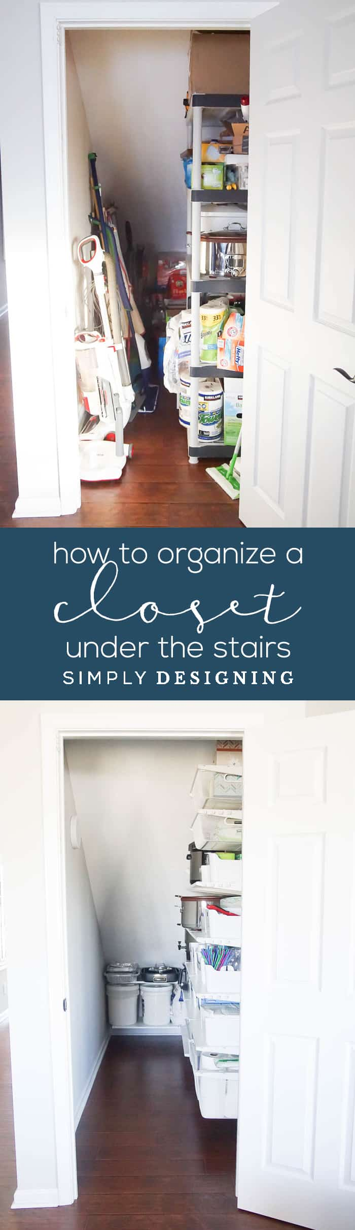 How to Organize a Closet Under the Stairs - before and after