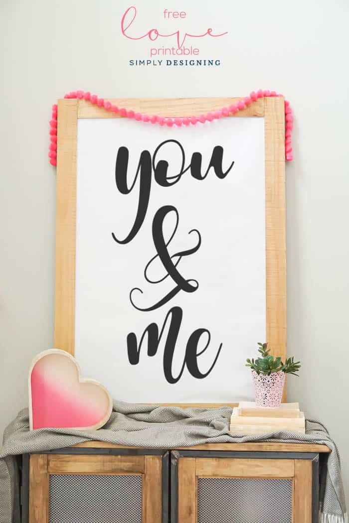 You and Me Printable - free valentines day print - art print