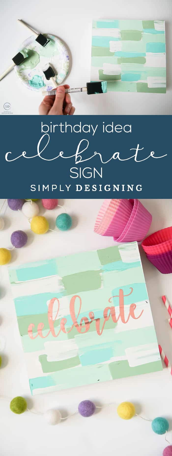 Birthday Idea - Handmade Sign - Celebrate Sign - cute sign made with vinyl paint and a wood shadowbox