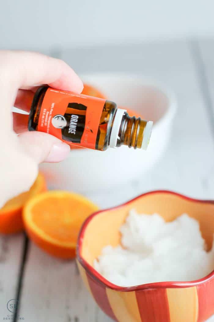 Add essential oils to your diy sugar scrub