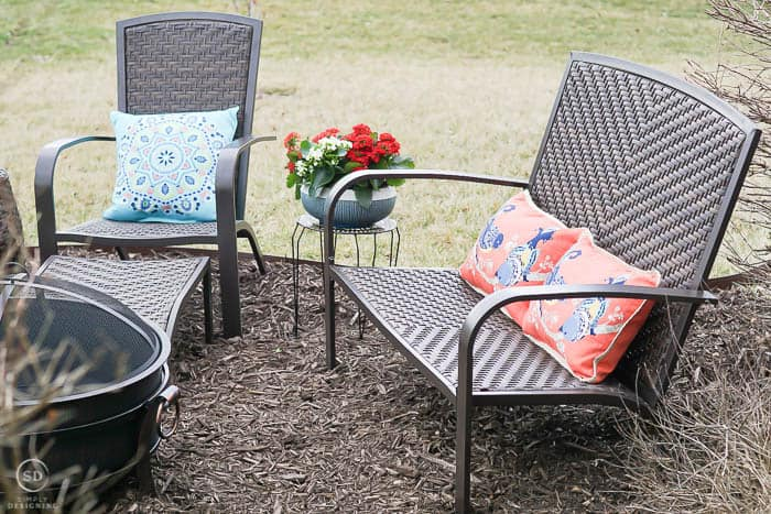 wicker Adirondack bench - outdoor living with an easy backyard fire pit