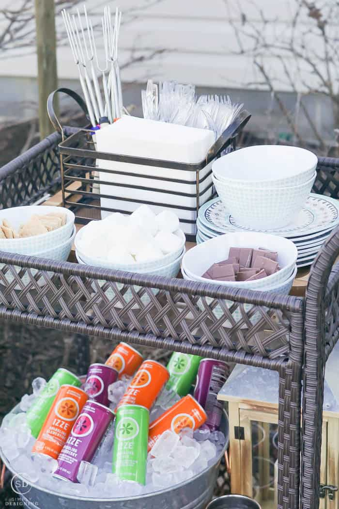 Serving Cart set up for S'mores