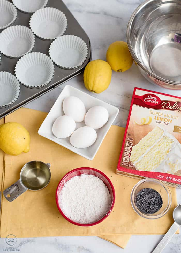 Ingredients to make Lemon Muffins with Poppy Seeds