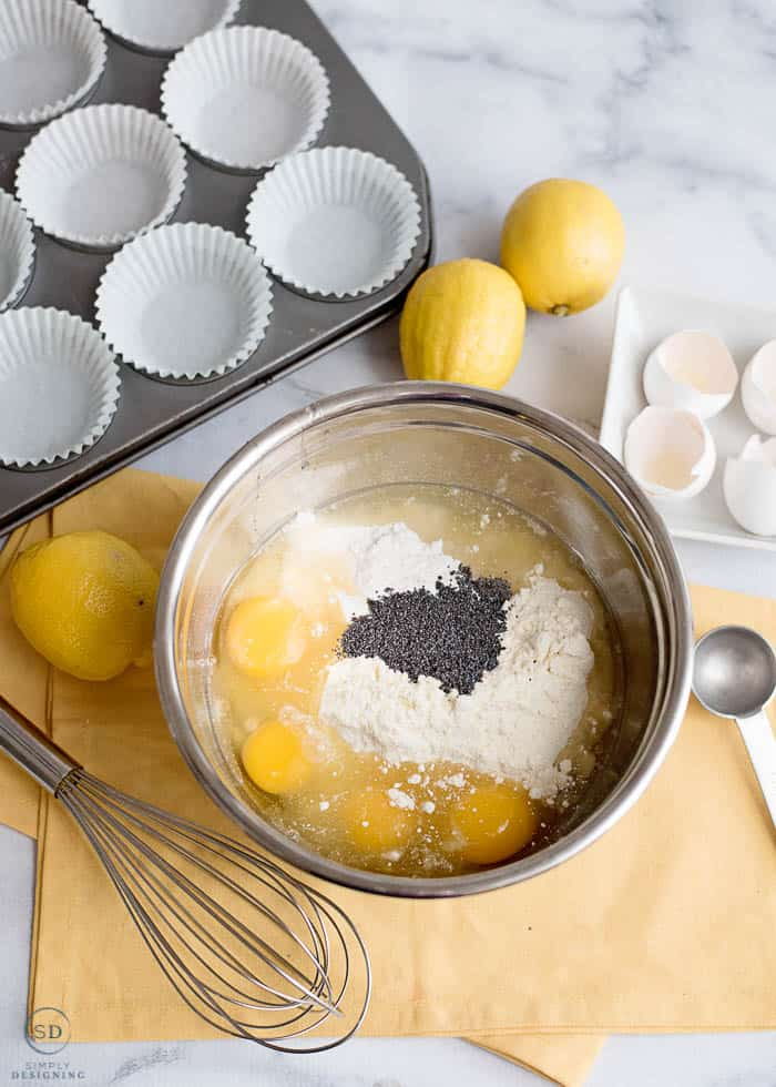 Combine ingredients for lemon muffins