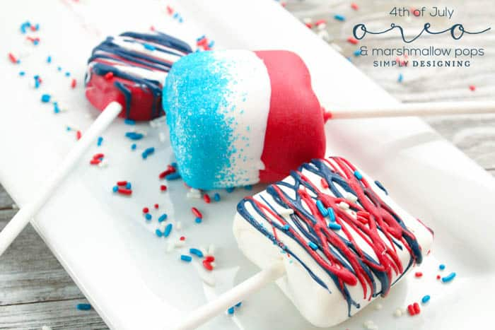 Easy to make 4th of July Oreo Pops and Marshmallow Pops