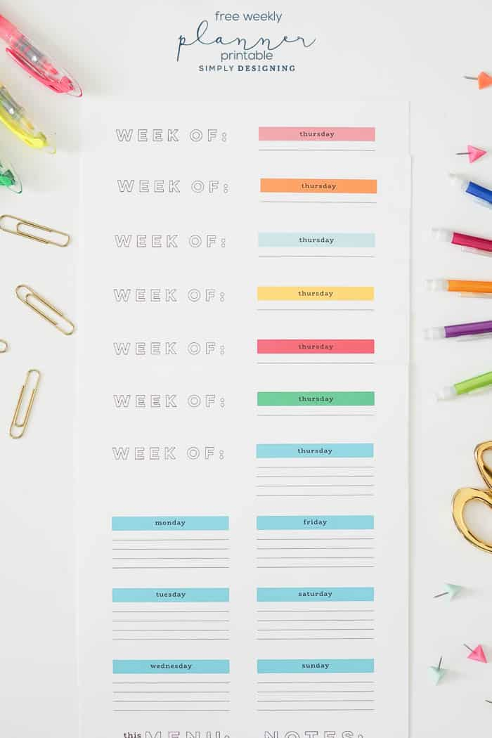It's just an image of Universal Free Printable Weekly Planner
