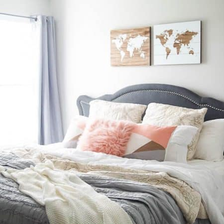 Add Curtains to bedroom - guest bedroom makeover - this before and after is stunning