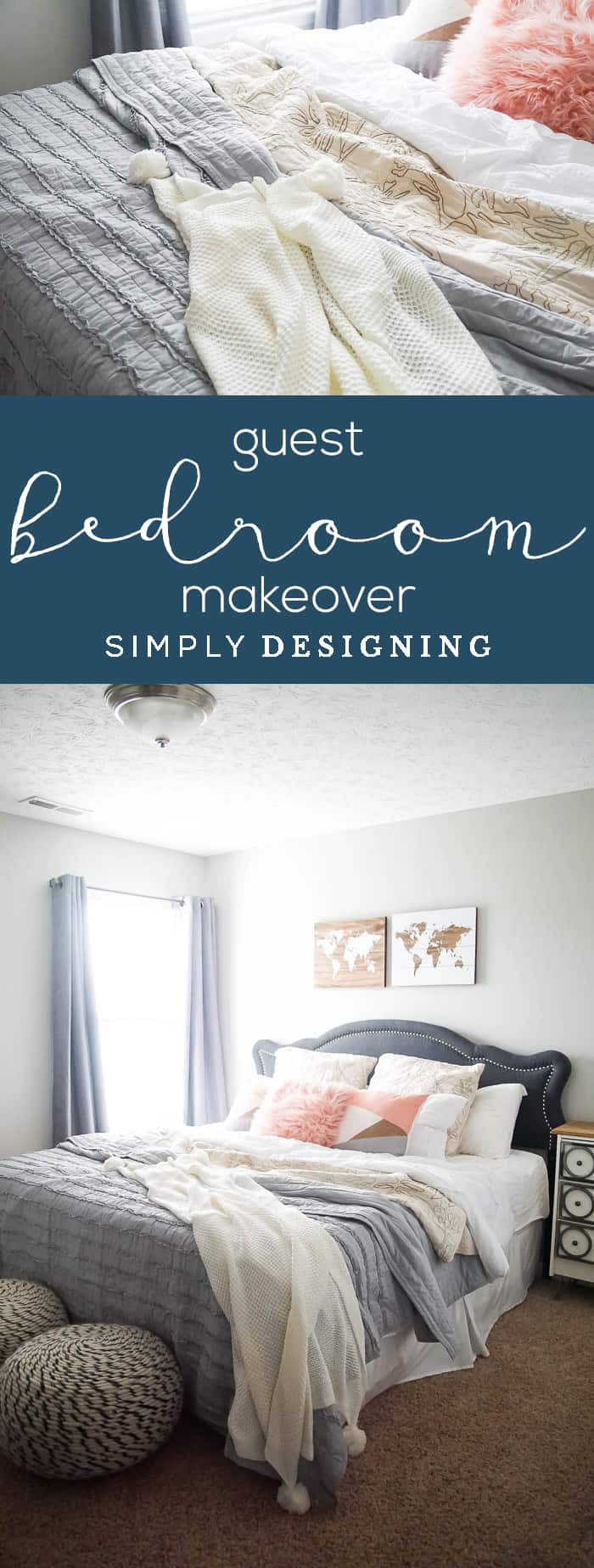 Guest Bedroom Makeover - Layer bedding and pillow - make a guest room comfortable - bedroom makeover before and after