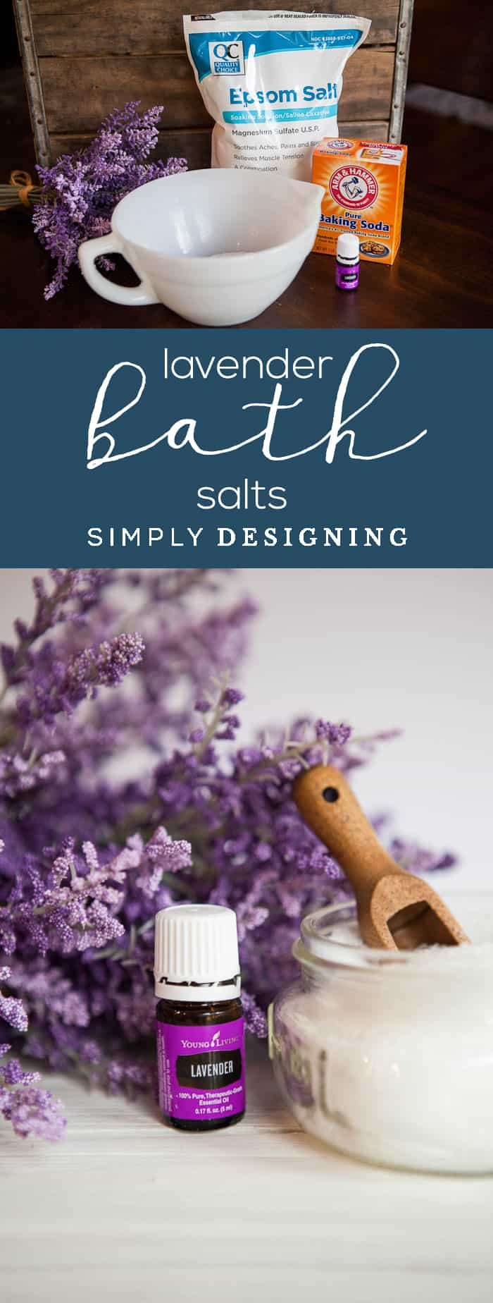 Lavender Bath Salts - this homemade bath salt recipe with 3 ingredients