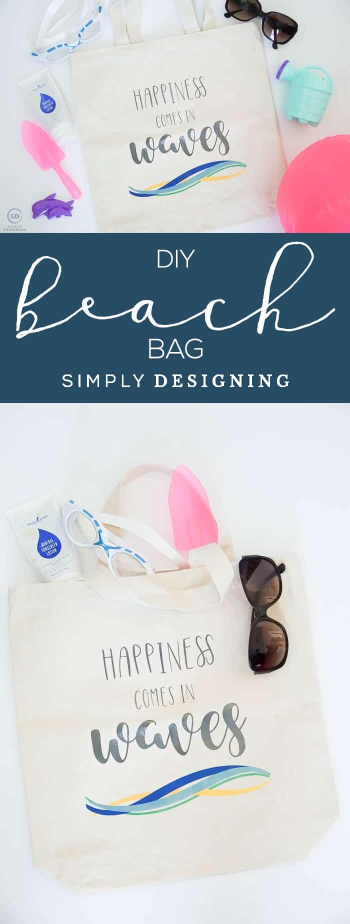 DIY Beach Bag - How to make a Tote Bag with Vinyl - Vinyl Beach Bag