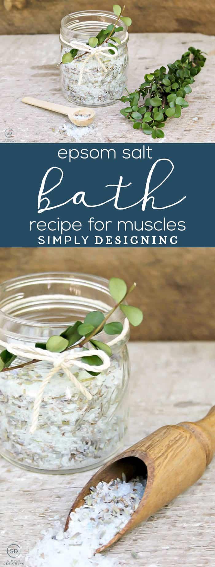 Epsom Salt Bath Recipe for Muscles _ Simply Designing