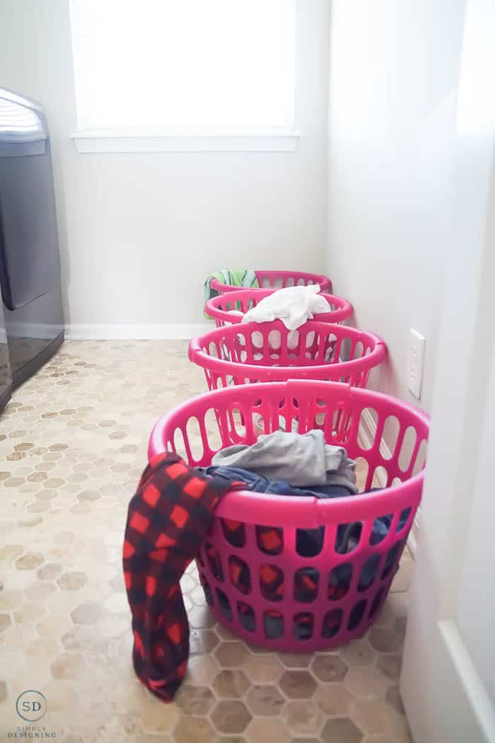 Laundry Baskets on the floor - before