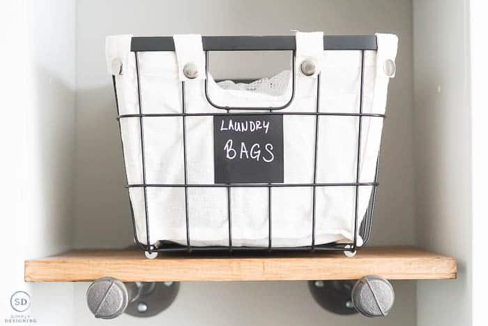 Organize a laundry room with wire baskets - close up