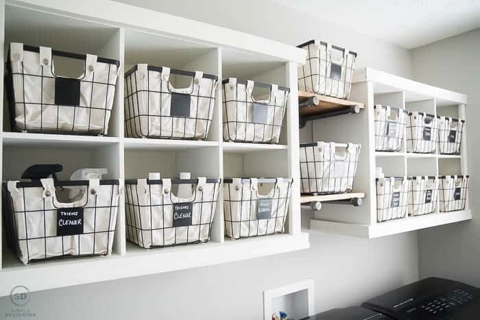 Wire baskets on shelves - how to organize a laundry room