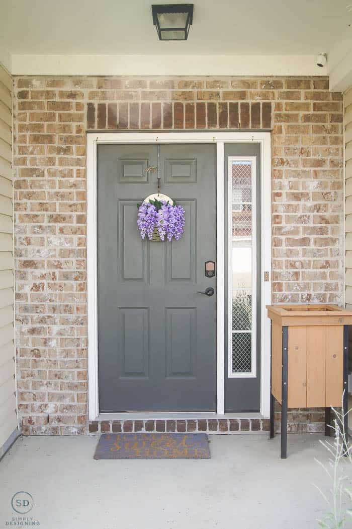 Ugly green door before - how to paint a front door